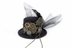 GRACEART Steampunk Nero Piuma Ingranaggi Superiore Cappello